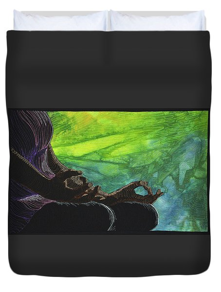 Duvet Cover featuring the tapestry - textile Serenity by Jo Baner