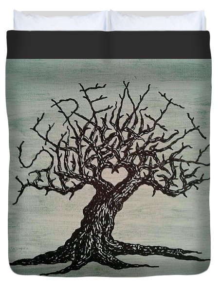 Duvet Cover featuring the drawing Serenity Love Tree by Aaron Bombalicki