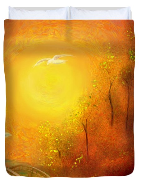 Duvet Cover featuring the painting Serenity by Michael Cleere