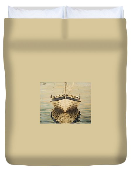Duvet Cover featuring the painting Serenity by Natalia Tejera