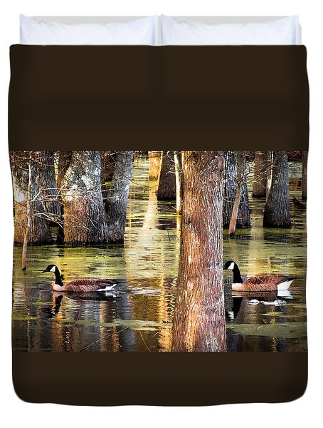Serenity Of Cypress Duvet Cover by Karen Wiles