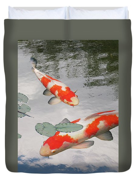 Serenity - Red And White Koi Duvet Cover by Gill Billington