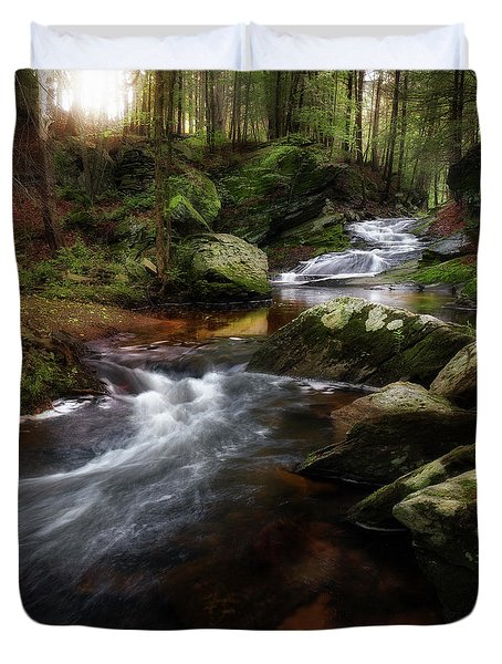 Duvet Cover featuring the photograph Serenity Sunrise by Bill Wakeley