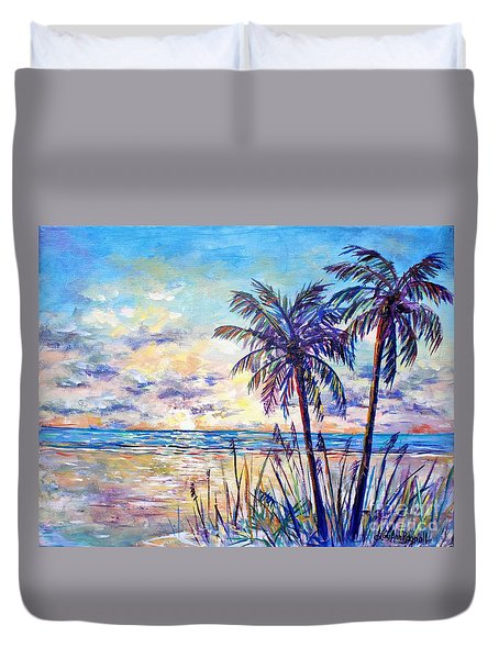 Serenity Under The Palms Duvet Cover by Lou Ann Bagnall