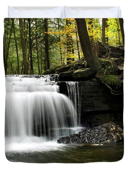 Serenity Waterfalls Landscape Duvet Cover