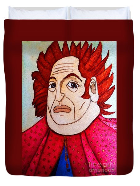 Duvet Cover featuring the painting Serious Cardinal by Don Pedro De Gracia