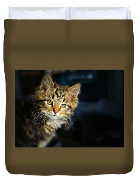 Serious Cat Portrait Duvet Cover