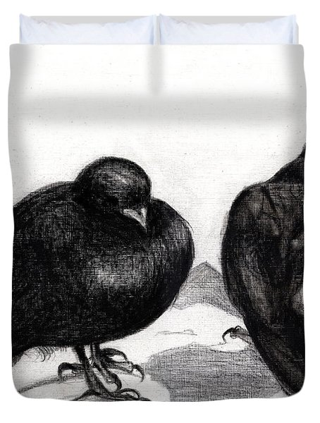 Serious Pigeon Situation Duvet Cover by Nancy Moniz