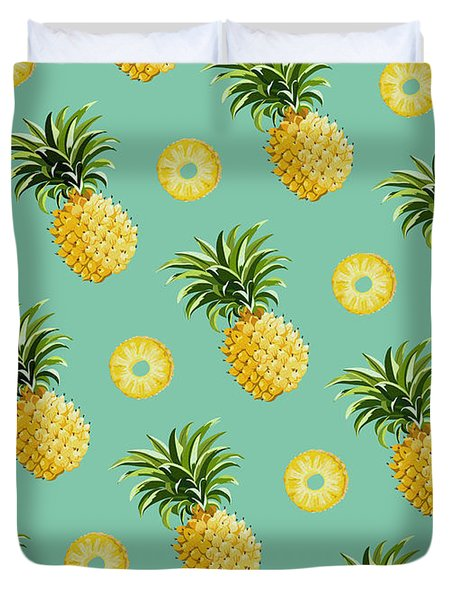 Set Of Pineapples Duvet Cover by Vitor Costa