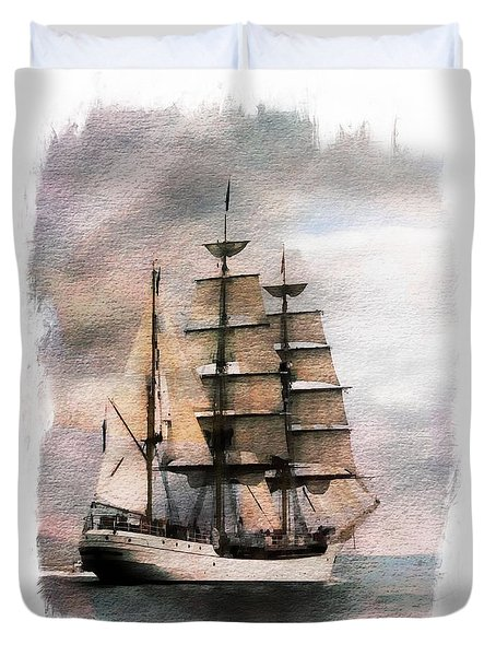 Duvet Cover featuring the painting Set Sail by Aaron Berg
