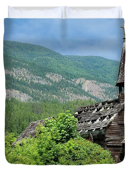 Duvet Cover featuring the photograph Seton Portage Church 2 by Rod Wiens