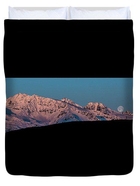 Setting Moon Over Alaskan Peaks Vi Duvet Cover
