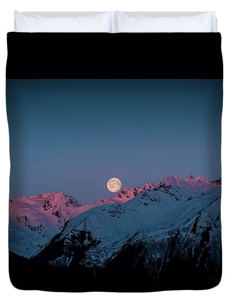 Setting Moon Over Peaks IIi Duvet Cover