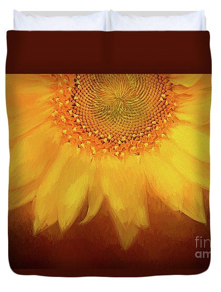 Duvet Cover featuring the photograph Setting Sun by Darren Fisher