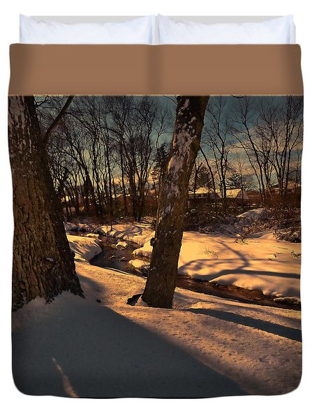 Setting Sun On A Winters Day Duvet Cover