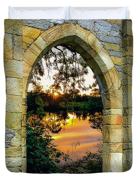 Duvet Cover featuring the photograph Setting Sun On Ireland's Shannon River by James Truett