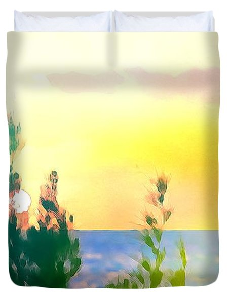 Pastel Colors On The Atlantic Ocean In Cancun Duvet Cover