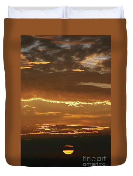 Setting Sun On The Horizon Duvet Cover by Michal Boubin