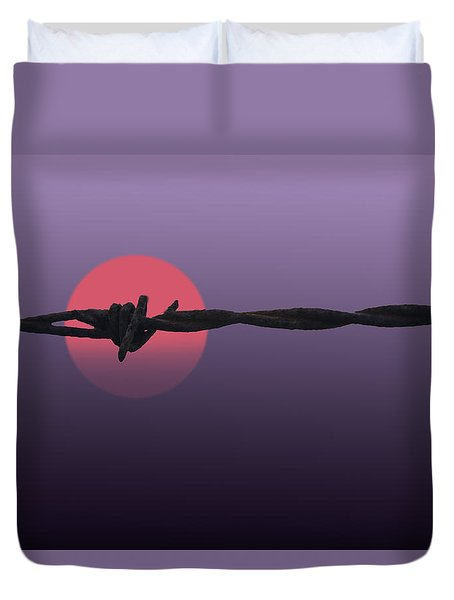 Duvet Cover featuring the photograph Setting Sun by Skip Tribby