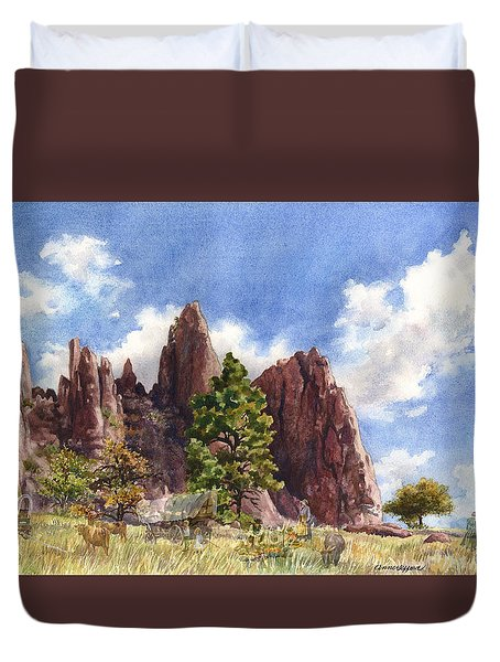 Duvet Cover featuring the painting Settler's Park, Boulder, Colorado by Anne Gifford