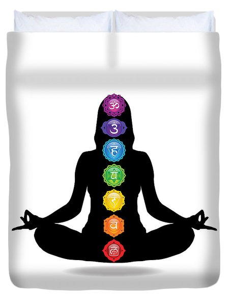 Seven Chakra Illustration With Woman Silhouette Duvet Cover