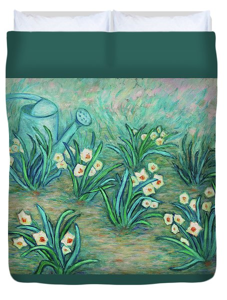 Duvet Cover featuring the painting Seven Daffodils by Xueling Zou