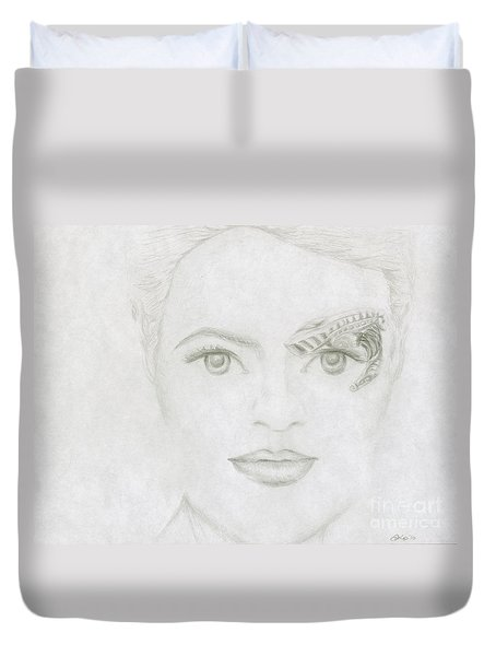Duvet Cover featuring the drawing Seven by Kim Sy Ok