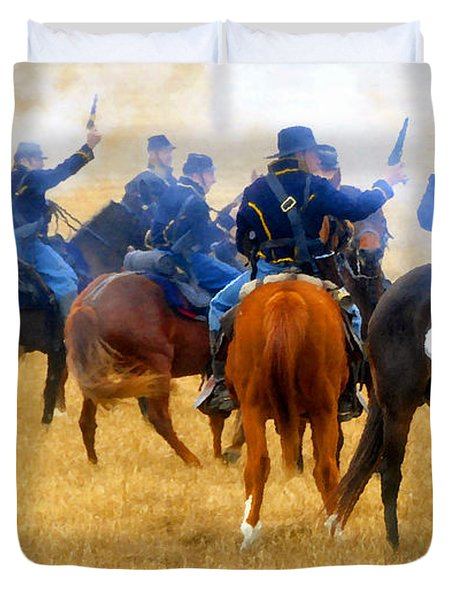 Seventh Cavalry In Action Duvet Cover by David Lee Thompson