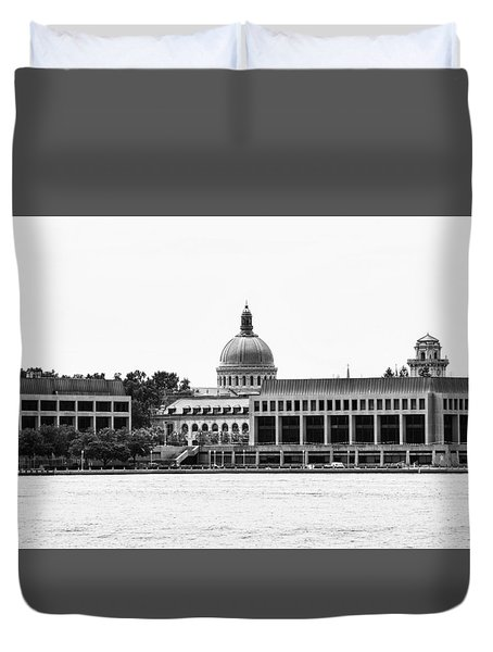 Severn River View Of United States Naval Academy Duvet Cover