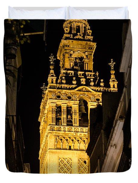 Seville - The Giralda At Night  Duvet Cover