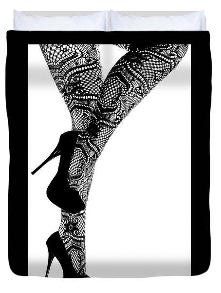 Sexy Legs In Stilettos Duvet Cover by Marius Sipa