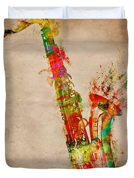 Duvet Cover featuring the digital art Sexy Saxaphone by Nikki Smith