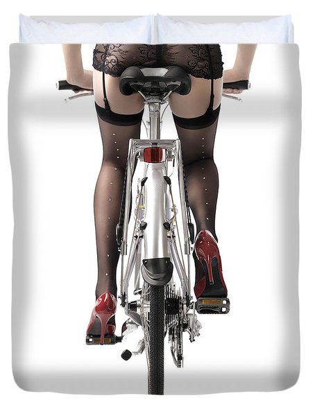 Sexy Woman Riding A Bike Duvet Cover