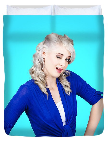 Sexy Woman Winking Eye On Pin-up Blue Background Duvet Cover