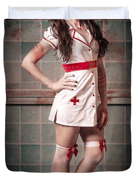 Sexy Zombie Medical Emergency Nurse In Hospital Er Duvet Cover