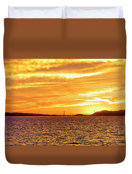 Sf Bay Area Sunset Duvet Cover