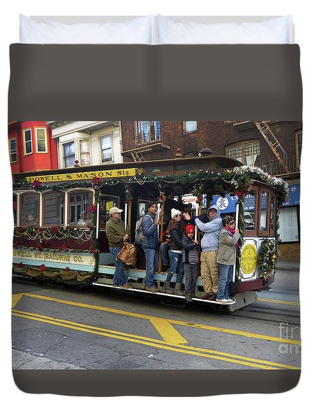 Duvet Cover featuring the photograph Sf Cable Car Powell And Mason Sts by Steven Spak