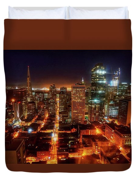 Duvet Cover featuring the photograph Sf Gotham City by Peter Thoeny