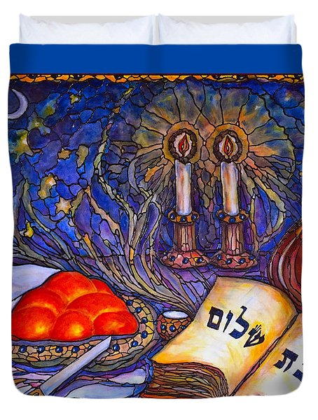 Duvet Cover featuring the painting Shabbat Shalom by Rae Chichilnitsky
