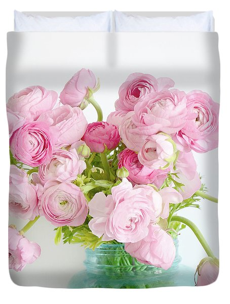 Shabby Chic Cottage Spring Summer Flowers - Ranunculus Roses Peonies Ethereal Dreamy Floral Prints Duvet Cover by Kathy Fornal