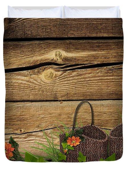 Shabby Chic Flowers In Rustic Basket Duvet Cover