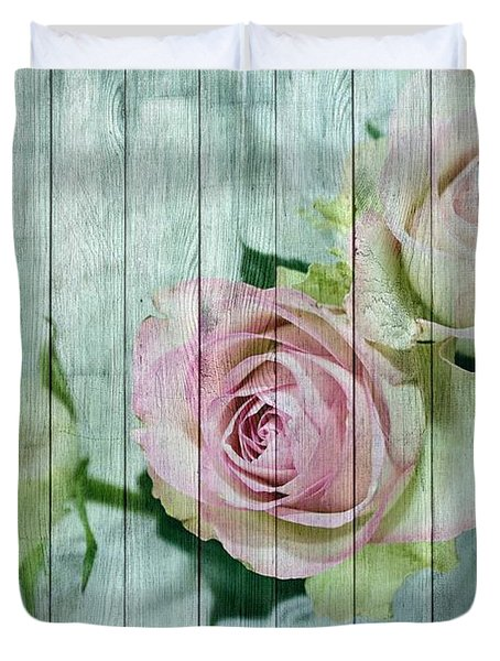 Shabby Chic Pink Roses On Blue Wood Duvet Cover