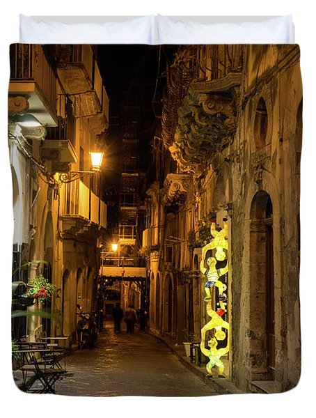 Shabby Chic - Small Street Night Walk In Syracuse Sicily Duvet Cover