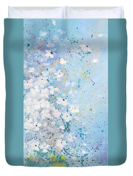 Duvet Cover featuring the painting Shabby Nine by Laura Lee Zanghetti