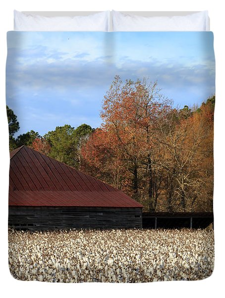 Shack In The Field Duvet Cover