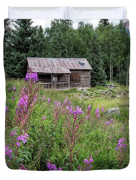 Shack With Fireweed Duvet Cover