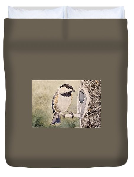 Shades Of Black Capped Chickadee Duvet Cover