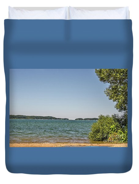 Duvet Cover featuring the photograph Shades Of Green And Blue by Sue Smith