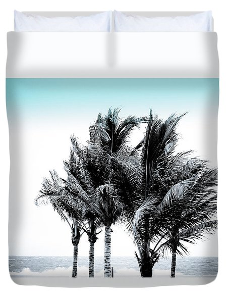 Shades Of Palms - Silver Blue Duvet Cover by Colleen Kammerer