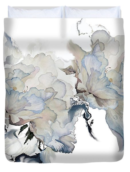 Duvet Cover featuring the painting Shades Of White Peony by Hanne Lore Koehler